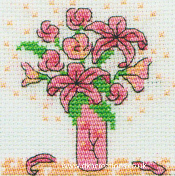 Pink Ribbon Foundation Pink Flowers In Vase Mini Cross Stitch Kit